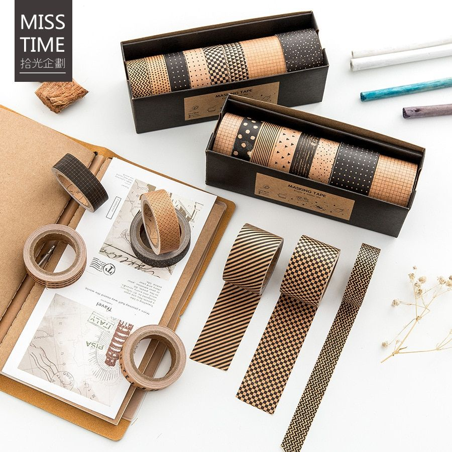 8 Rollos/Caja de Cinta Adhesiva de La Vendimia Set Kraft Cintas Washi Japonés DIY Cinta De Papel Decorativo Pegatinas Papelería Set de Regalo