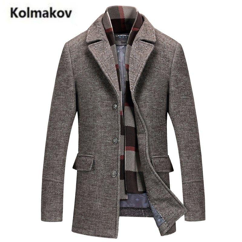 KOLMAKOV 2017 new winter high quality men's turn-down collar wool coats,men 50% woolen Thicker trench coat, Windbreaker jacket