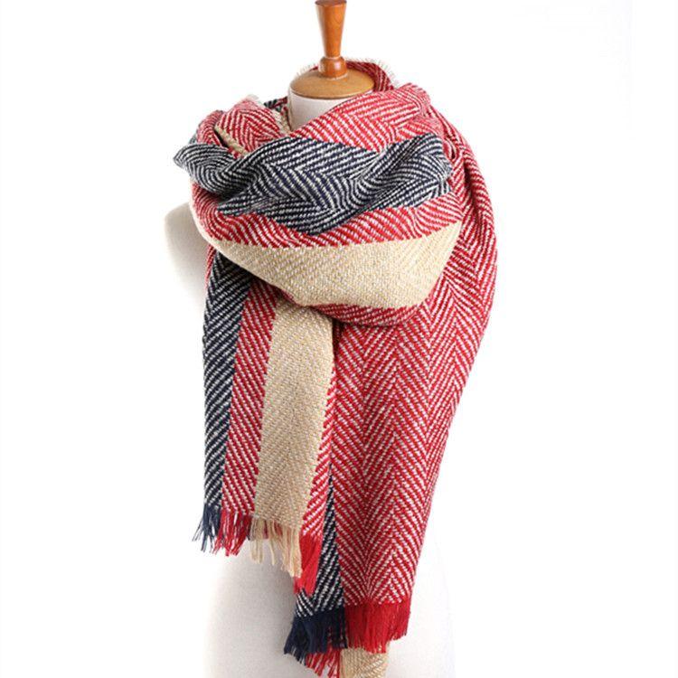 2017 модный бренд шарф елочкой площадь полоса зимние теплые кашемировые кисточкой шаль для Для женщин