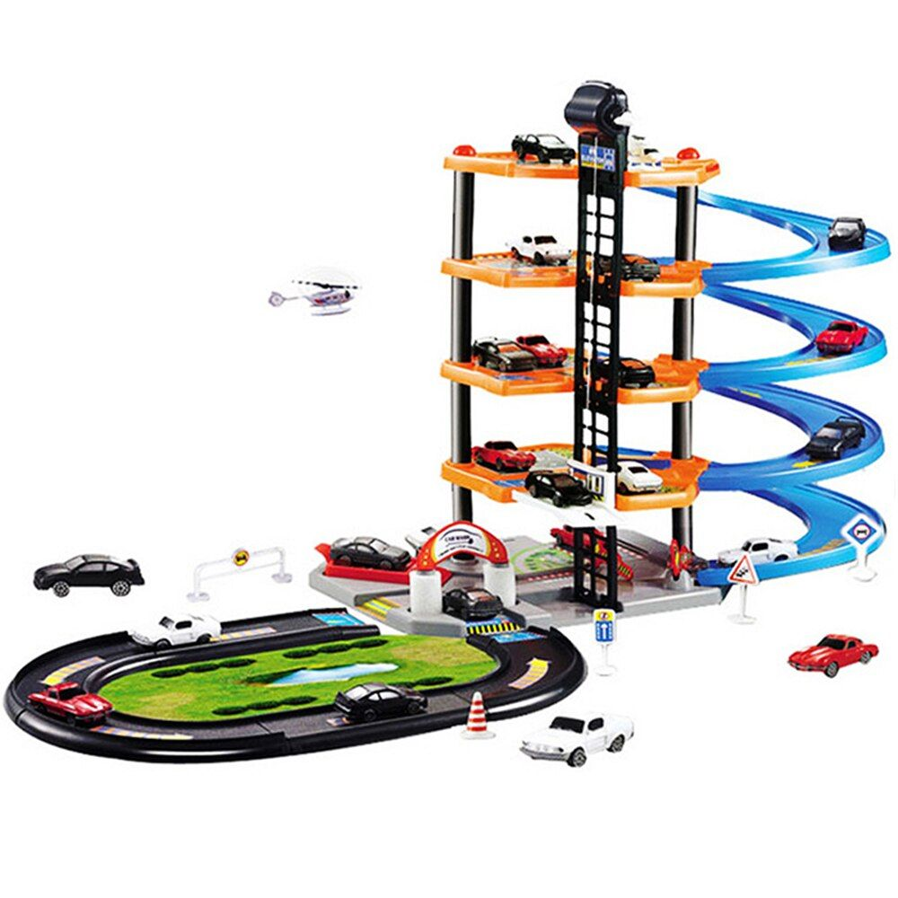 DIY Track 3D Car Racing Track Toys Car Parking lot Assemble Railway Rail Car Toy DIY Slot Model toys for kids Children Birthday