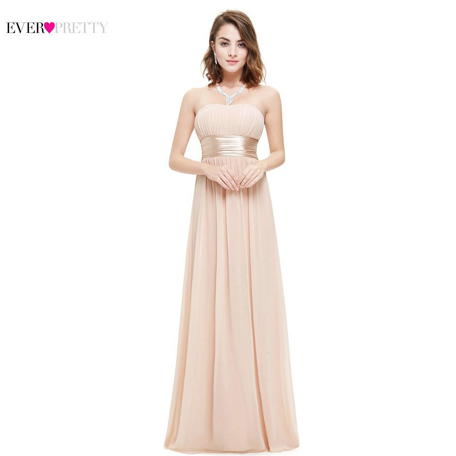 Long Evening Dresses Ever Pretty EP09955 Strapless Ruched Bust Black Chiffon 2018 New Arrival Evening Dresses Style Party Gowns