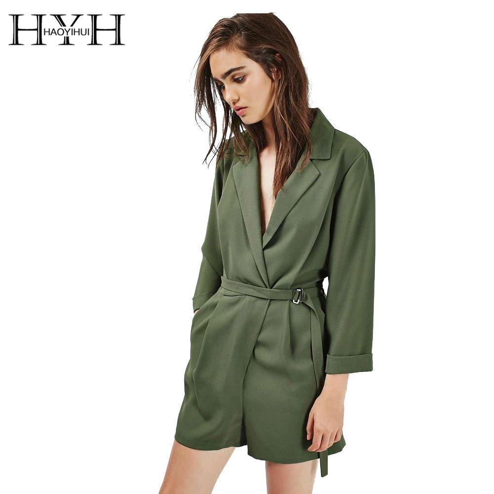 HYH haoyihui Для женщин ползунки однотонные зеленые с длинным рукавом Глубокий V Средства ухода за кожей шеи комбинезон Drawstring элегантный уличной ...