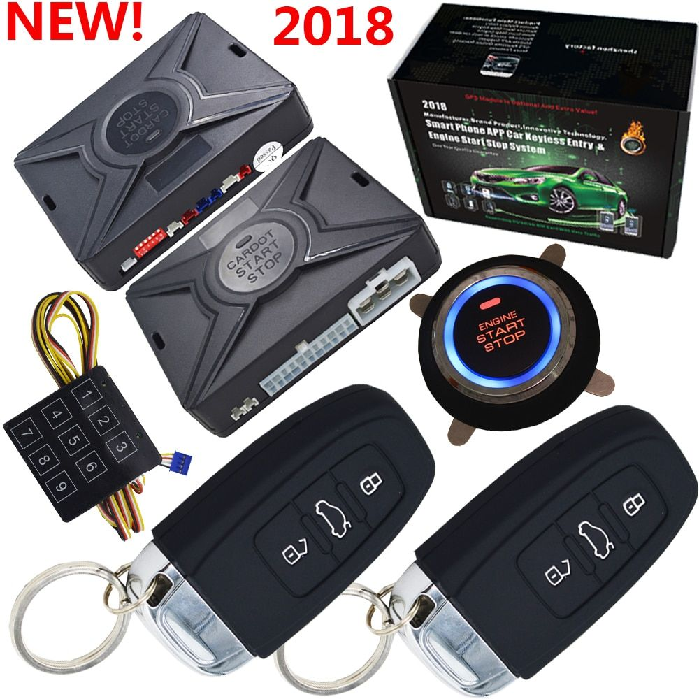 Top smart security car alarm passive keyless entry auto central lock push button <font><b>start</b></font> stop compatiable with cardot gps module