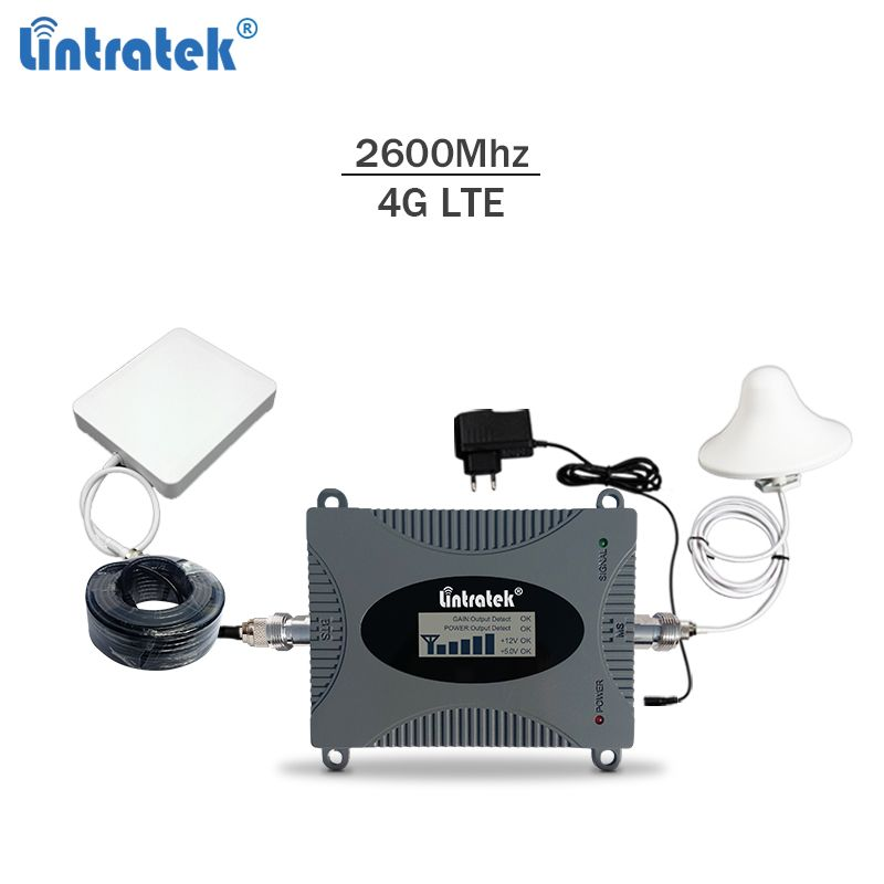 Lintratek signal booster 4G lte 2600Mhz Band 7 repeater 4G 65 dBi mobile phone amplifier 2600Mhz with LCD display full kit #7.5