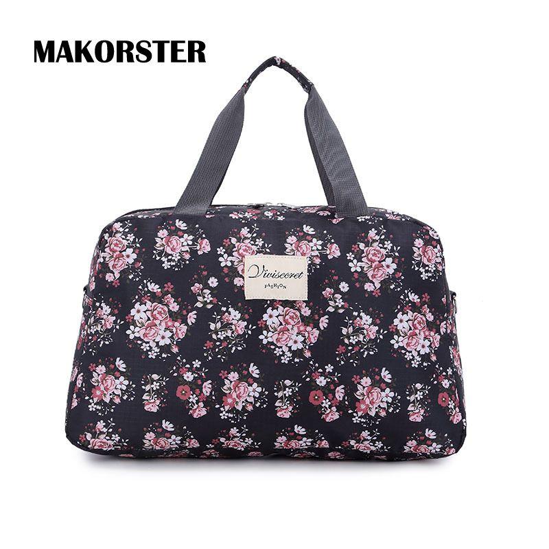 MAKORSTER Портативный Мода Женщины дорожная сумка выходные Нейлон Цветочный вещевой мешок багажа дорожные сумки для женщин сумки YY118