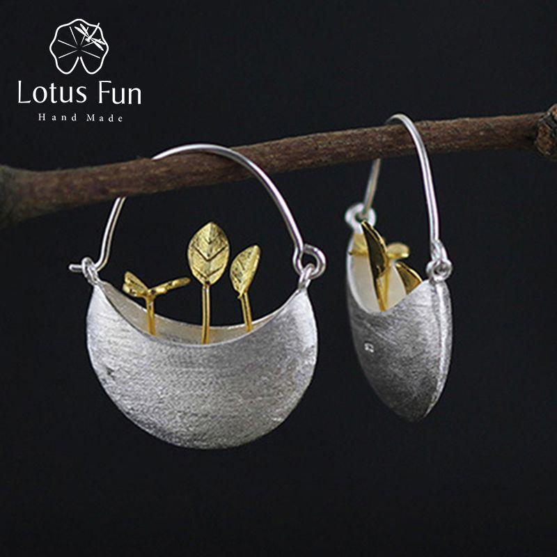 Lotus Fun Real 925 Sterling Silver Dangle Earrings Natural Handmade Fine Jewelry My Little Garden Drop Earrings for Women