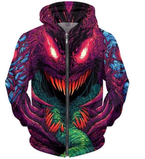 New Arrive Fashion Clothing Crewneck Hyper beast Zip-Up Hoodies Psychedelic Sweatshirt Casual Women/Men 3D Harajuku Outfits Tops