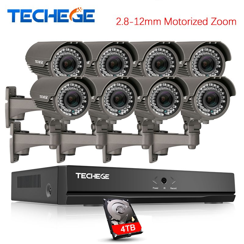 Techege H.265 Security Surveillance Kits 8CH PoE NVR Kit 4MP 2.8-12mm Motorized Zoom Camera POE System P2P Cloud cctv system