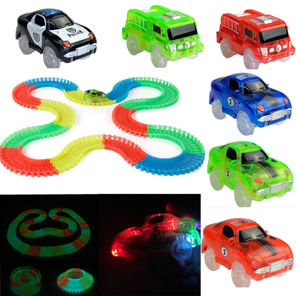 Normal Size Glow Racing Track Set 5 Led Light Track Car Flexible Glowing Tracks Toy 162/165/220/240 Race Track With Retail Box