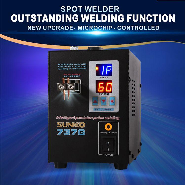 S737G battery spot welder precision pulse spot welder led light welding machine used 18650 battery pack spot welders