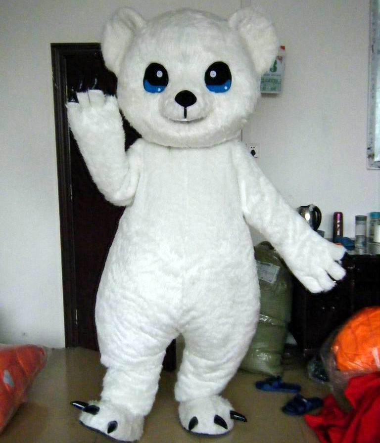 big eyes white polar bear mascot costume for adult