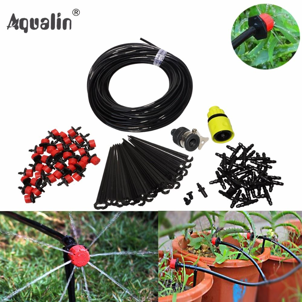 25m Automatic Micro Drip Irrigation System Garden Irrigation Spray Self Watering Kits with Adjustable Dripper #26301-1