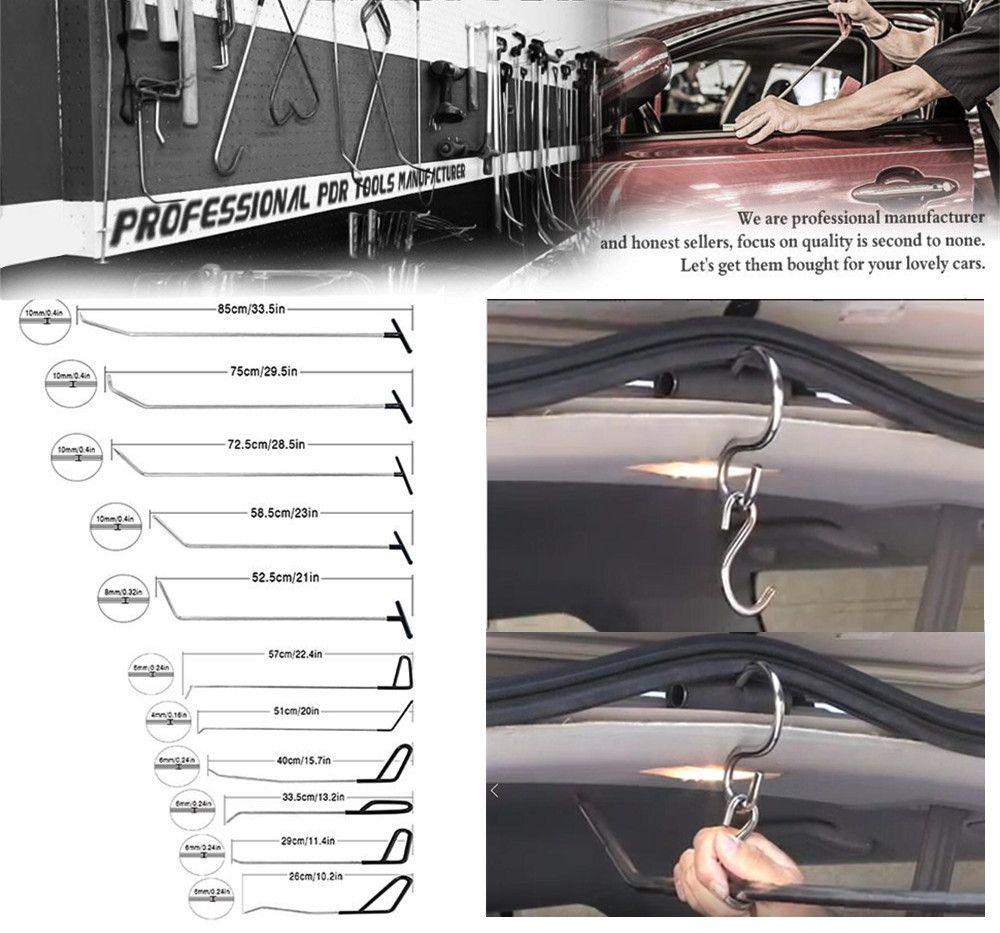 Hook Tools Push Rod Black Car Crowbar Paintless Dent Repair Hand Kits Dent Removal Ding Hail Puller Set Herramentas