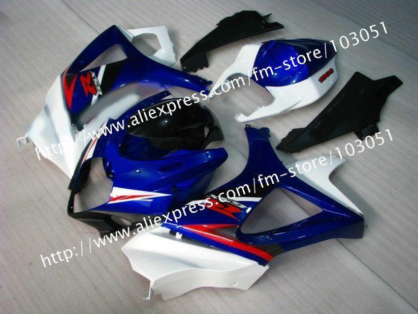 7 geschenke benutzerdefinierte für 2007 SUZUKI GSXR 1000 K7 verkleidungen 2008 gsxr 1000 verkleidung 07 08 glänzend dunkelblau mit weiß Dr11