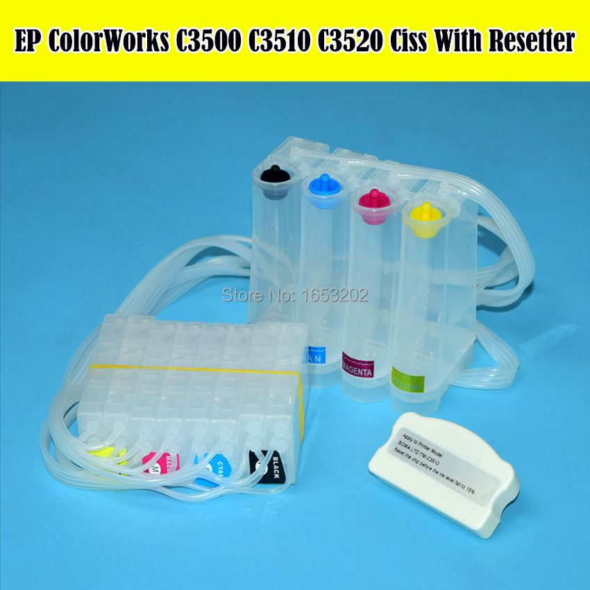 C3500 C3510 C3520 CISS SJiC22P Cartridge For Epson ColorWorks TM-C3500 TM-C3510 TM-C3520 Bulk Ink System With Chip Resetter