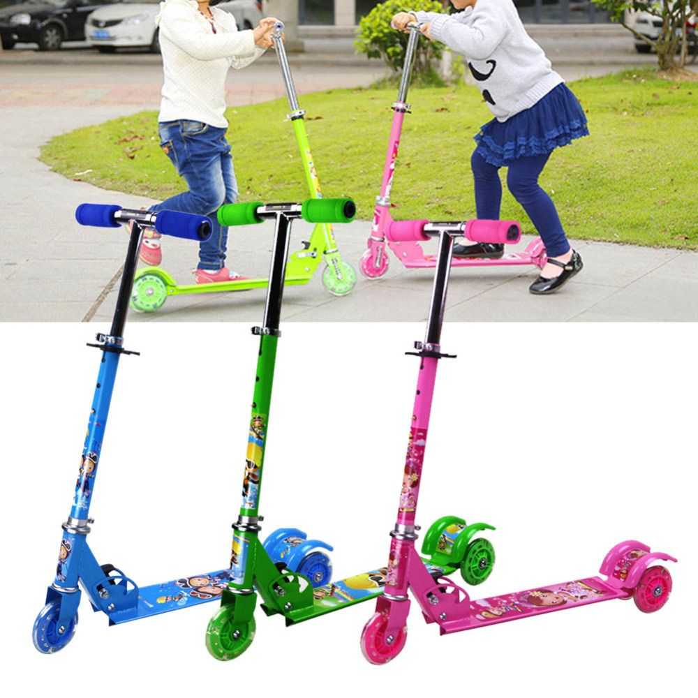 Children kick scooter baby Foldable printing PU 3wheels LED outdoor sport Bodybuilding 3-15years old for children and kids