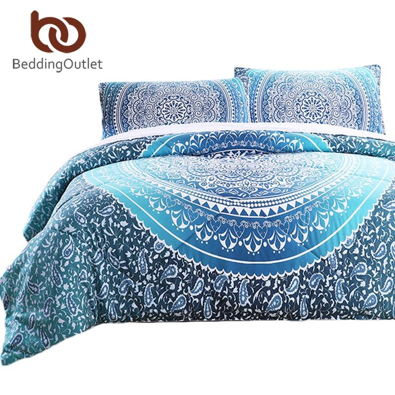 BeddingOutlet 3 Pieces Comforter Set Crystal Quilt Set with Pillowcase Bed In a Bag Indian Bohemia Printed Bedclothes Queen Size