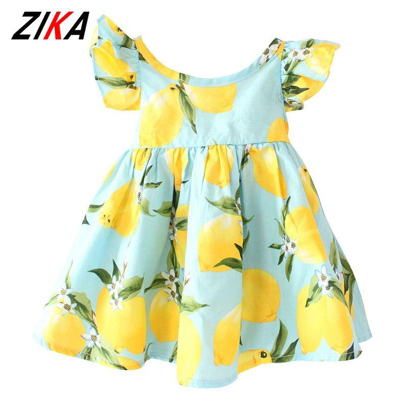 ZIKA marque Enfants Robe 2018 Summer Fly Manches Robe Citron Motif Bébé Filles Robes De Mode Enfants Vêtements De Noël Cadeaux