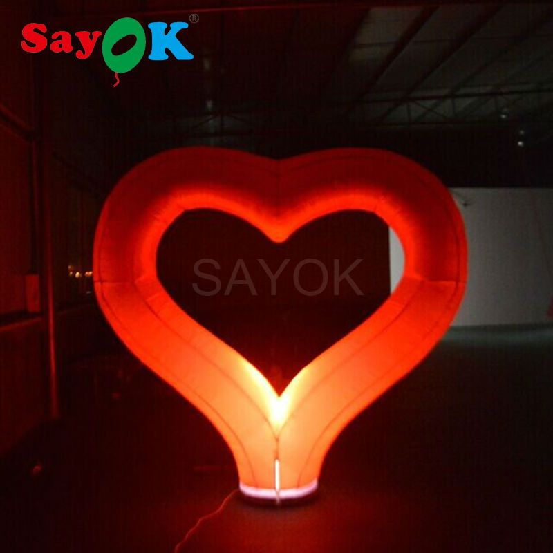 Sayok 2m Large Inflatable Red Heart with LED Lighting for Valentines' Day Wedding Ground Event Decoration