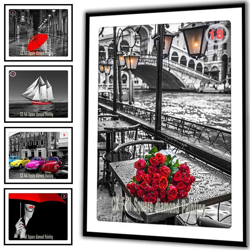 25 Optional Pictures DIY Diamond Painting Cross Stitch Needlework Diamond Mosaic Diamond Embroidery Flowers <font><b>Rose</b></font> Crafts F1007 zx