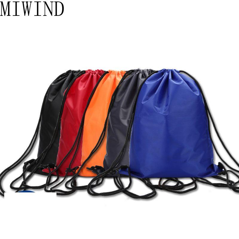 MIWIND Simple Unisex Mochila Con Cordón de Nylon Cinch Saco de Playa Hombres y Mujeres Bolsa de Hombro Bolsa de Viaje Mochila Delgada TZP031