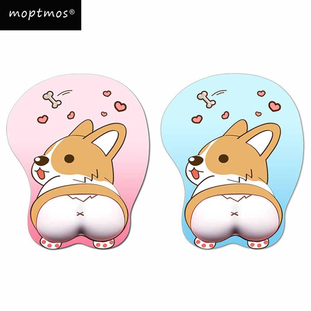 Tapis de souris Anime 3D tapis de souris ergonomique en Gel de silicone souple avec Support de poignet tapis de souris pour chien Corgi pour filles