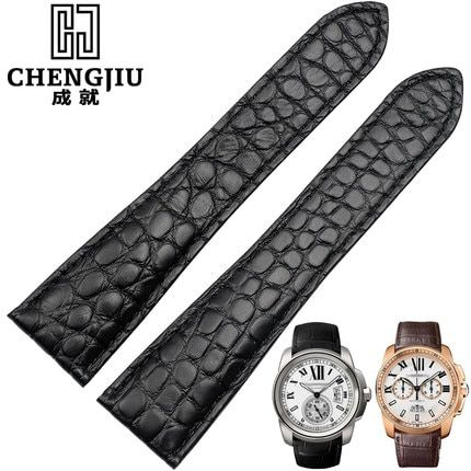 24mm Men's Crocodile Leather Watch Strap For Cartier/Calibre/ W7100041 Top Brand Bracelet Deployment Buckle Bands Homme