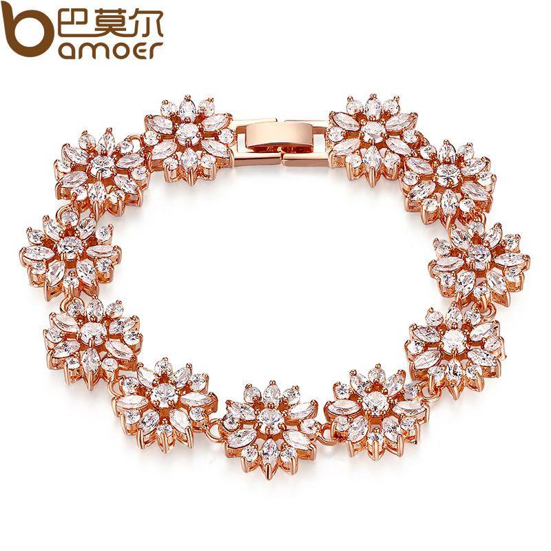 BAMOER HOT Bracelet & Bangle for Women Prong Setting Zircon Chain Bracelet Jewelry Gift for Female JIB007