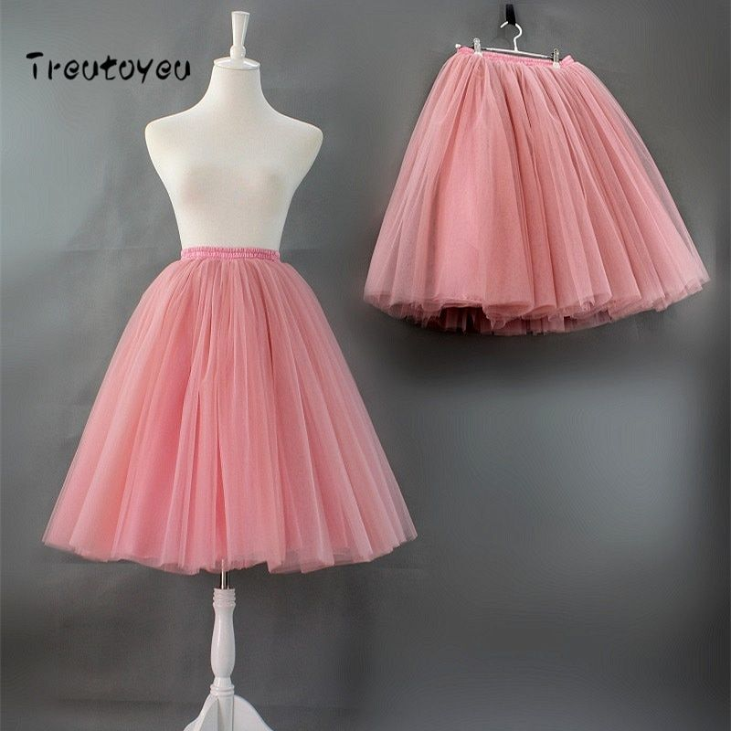 7 Layers Princess Midi Tulle Skirt High <font><b>Waist</b></font> Pleated Dance Tutu Skirts Womens Vintage Lolita Petticoat faldas rokken Jupe Saia