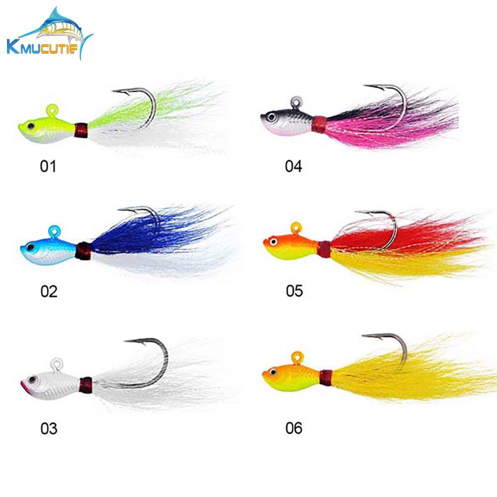 7g 10g 15g 28g 56g 3D Eyes Bucktail jig 6 couleurs grand jeu tête de plomb d'eau salée leurres de pêche