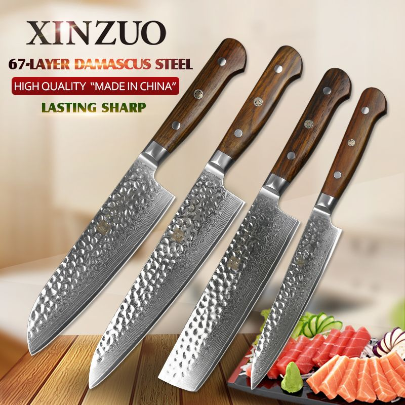 XINZUO 4 PCS kitchen knives sets japanese 67 damascus stainless steel kitchen knife chef santoku utility knife rosewood handle