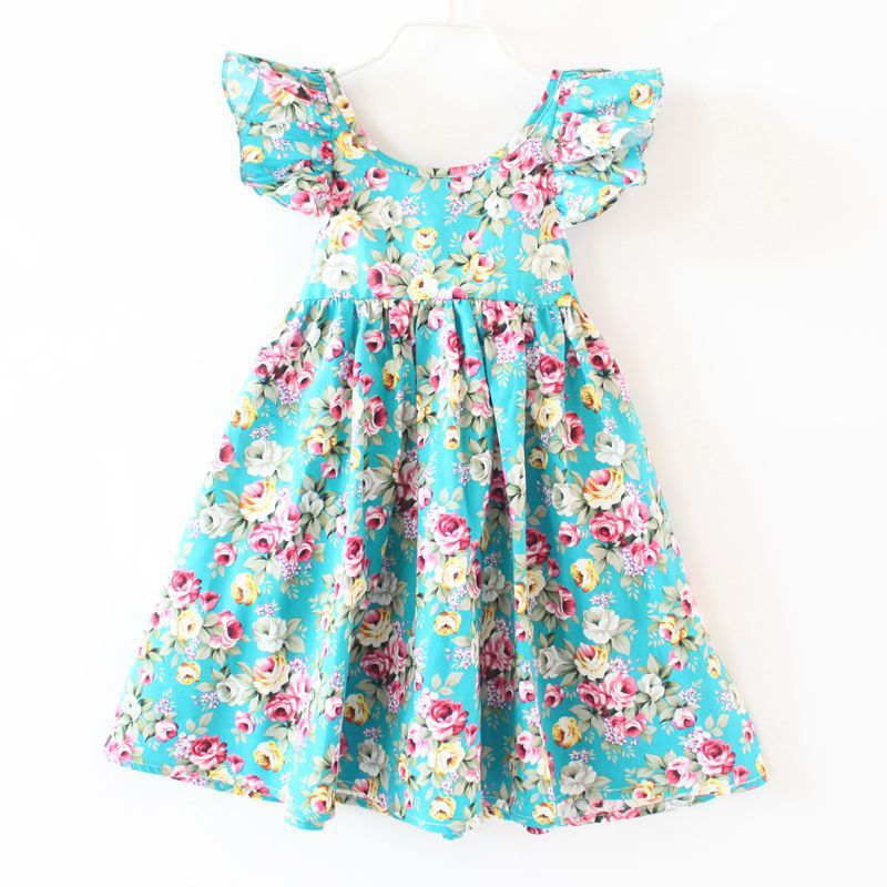 ZIKA Girls Dress 2017 Summer Girl Dress Fashion Butterfly Sleeve Floral Girls Dresses 18M-7Y Casual Beach Baby Girl Clothes