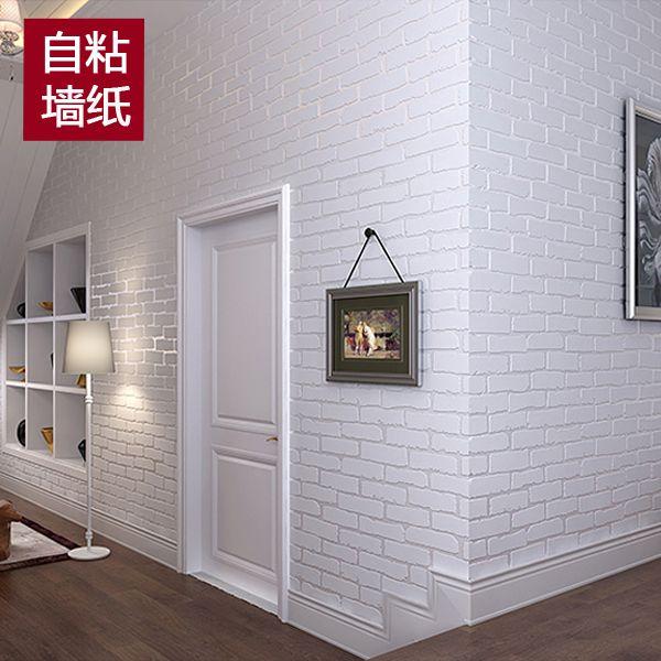 Новый Средиземноморский белый обои самоклеющиеся кирпич узор из нетканого материала общежитии наклейки 3D кирпичная стена наклейки ТВ стен...