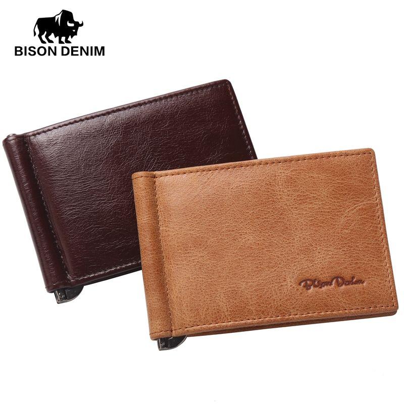 Бизон джинсовые натуральная кожа мини бумажник мужчины молния карман для монет доллар зажим для денег коричневый и жёлтый цвета Vintage кошель...