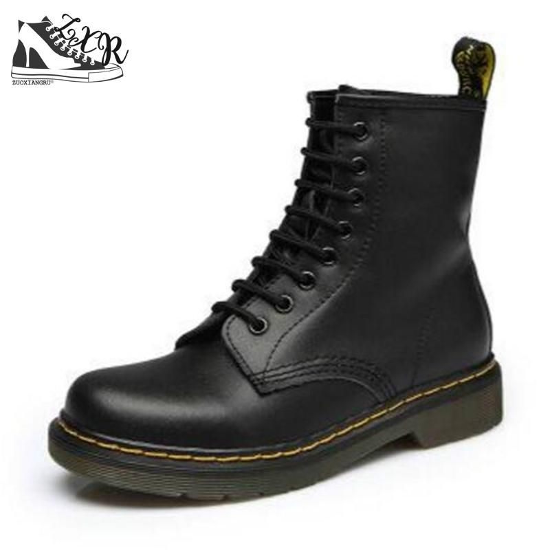 Genuine leather 2018 Woman Martin Boot Fashion Winter Shoes Feminina Female Motorcycle Ankle Snow Boots For Women Botas mujer