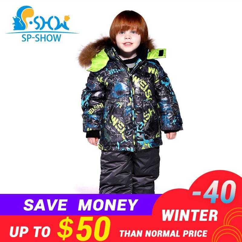 2018 Kids Boy And Girl Luxury Brand Ski Fur SuperJacket Windproof Jacket DownThick Warm Winter FurJacket / Coat + Trousers 004m