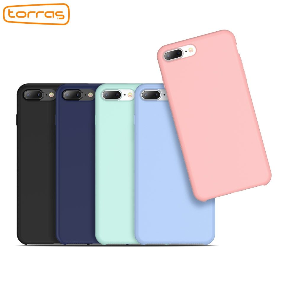 TORRAS Luxury Phone Case for iPhone 7 8 Original Liquid Silicone Case Anti-shock Protective Shell Cover Case for iPhone 8 8 Plus