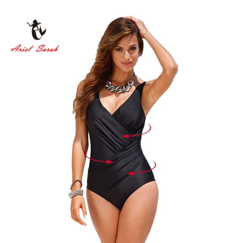 2018 D'une Seule Pièce Maillot de Bain Bikini Brésilien Ensemble Sexy Taille Haute Beachwear Plus La Taille Maillots De Bain Femmes Maillot de Bain Noir XXXXL BJ214