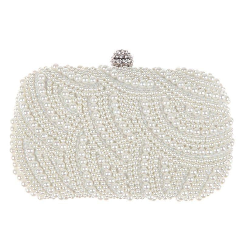 Ovale Perle Perlen Handtasche Frauen Weiß Handtasche Elegante Lange Kette Schulter Handtaschen Hochzeit Braut Clutch Weibliche