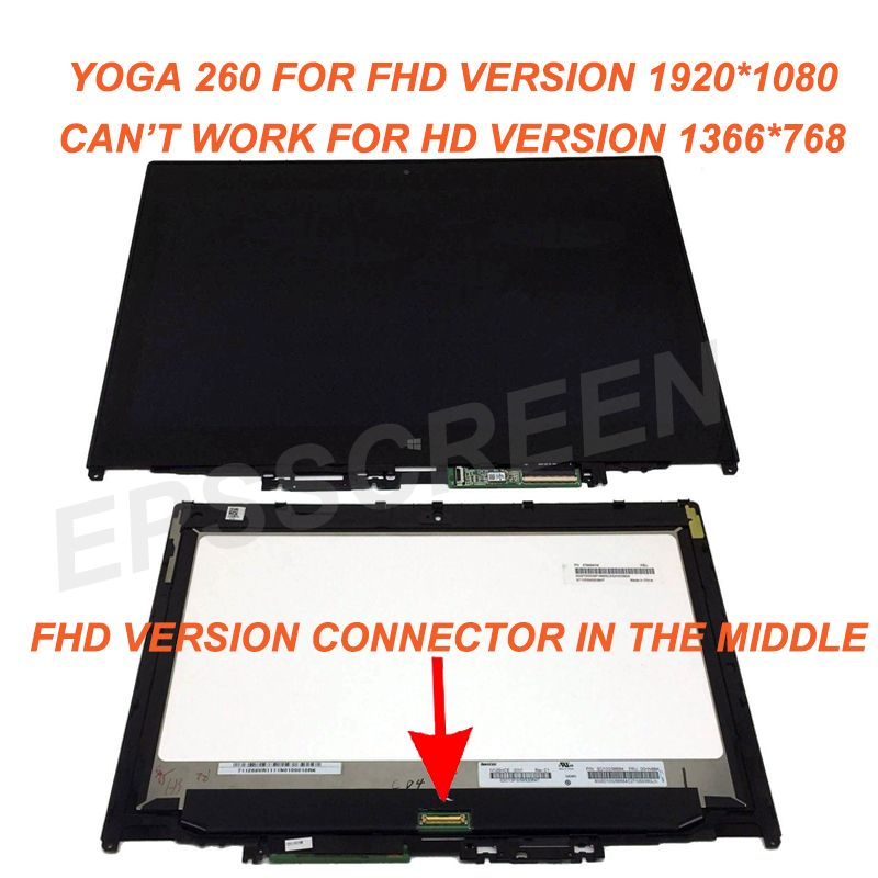 for Lenovo Thinkpad Yoga 260 20FD0002US FHD Touch PANEL LCD Screen Assembly +Bezel 1920*1080 N125HCE GN1 FHD WITHCONTROL BOARD