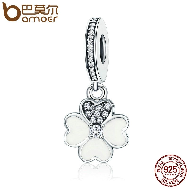 BAMOER Genuine 925 Sterling Silver Heart Petals Clover Dangle Charm fit Original Charm Bracelets for Women DIY Jewelry SCC259