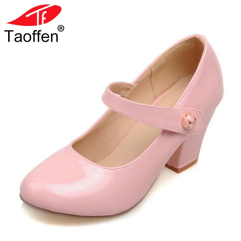 TAOFFEN Size 32-48 Lady High Heels Pumps Round Toe Patent Leather Thick High Heeled Shoes Women Candy Colors Party Footwears
