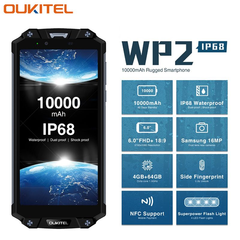 OUKITEL WP2 IP68 Waterproof Dust Shock Proof Mobile Phone 6.0inch 4GB+64GB MT6750T Octa Core Android 8.0 10000mAh NFC Smartphone