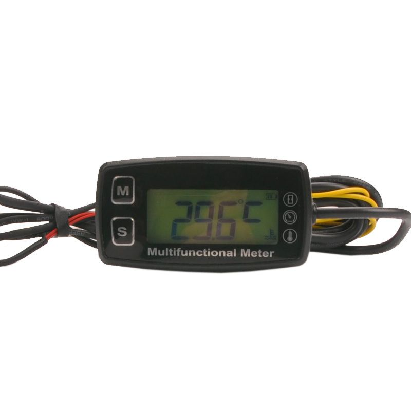 Digital LCD RL-HM035T tachometer hour meter <font><b>thermometer</b></font> temperature for gas UTV ATV outboard buggy tractor JET SKI paramotor
