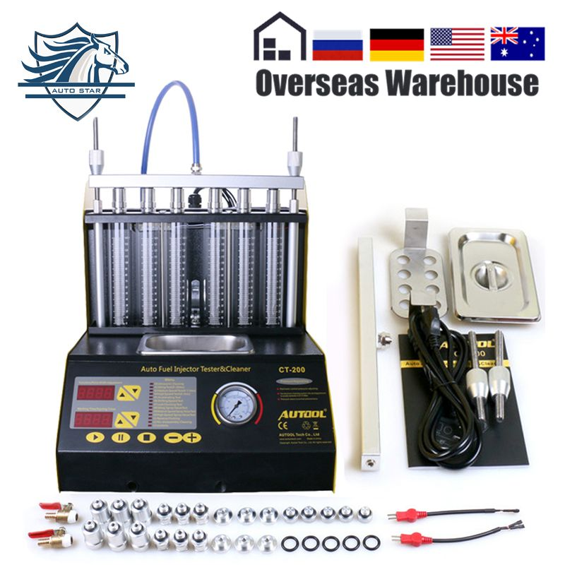 AUTOOL CT200 Auto Kraftstoff injektor reiniger tester Für Benzin 6/4 zylinder Motorrad 220/110V besser als CNC602A