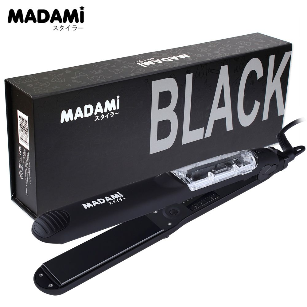MADAMI Heating Spray Steam Hair Straightener Salon Vapor Argan Oil Heat Straightening Plates Chapinha Steamer Flat Iron Black