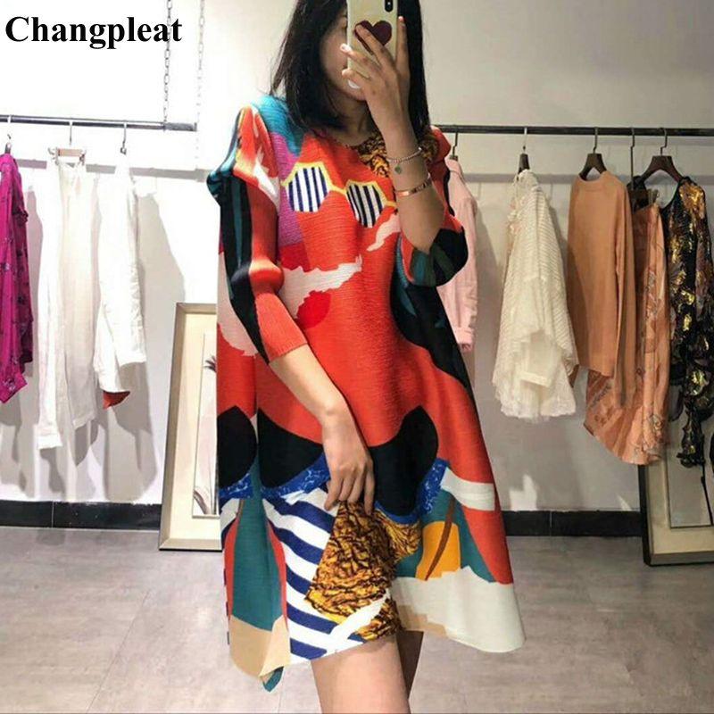 Changpleat 2019 frühling Neue Gedruckt Frauen T-shirts Tops Miyak Plissee Fashion Oansatz Lose Große Größe Weibliche Lange T-shirt Flut T9