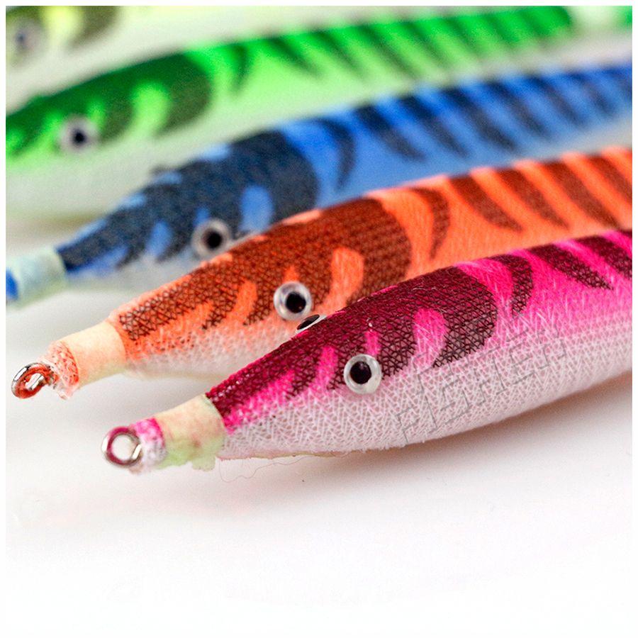 10 pcs/Lot appât à crevettes 10.5 cm 7g gabarits de calmar gabarits nuit aube leurres de pêche pour pieuvre seiche artificielle pesca couleur aléatoire