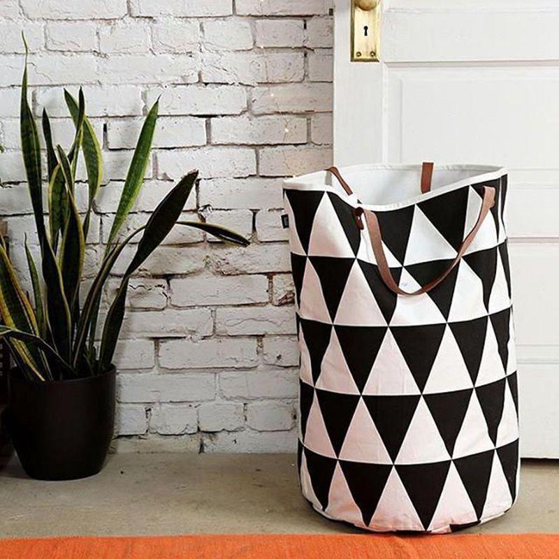 Semicircle Grid Batman Pattern handbag,baby kids Toy Clothes Canvas Laundry basket <font><b>storage</b></font> bag With Leather Handles Room Decor