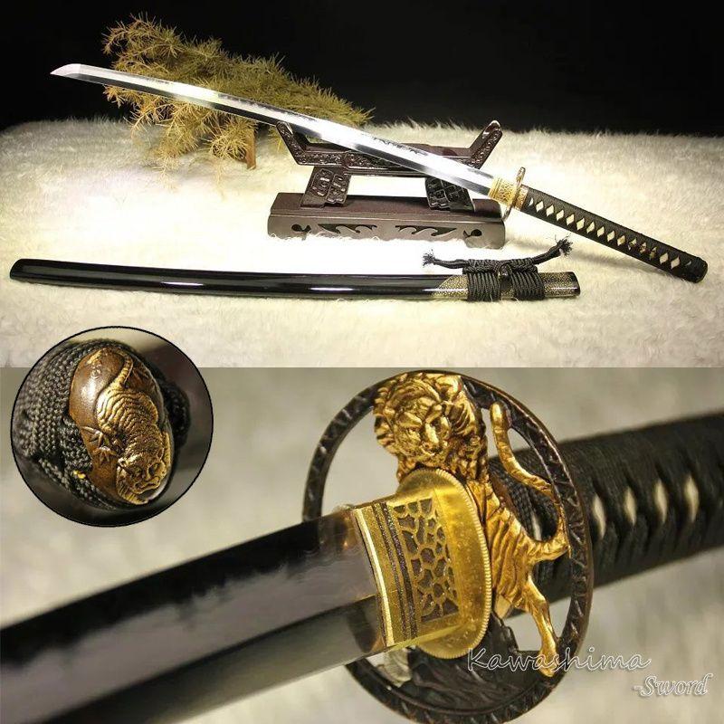 Grade EINE Japanischen Hand Poliert Katana Schwert Damaskus Geschmiedet Ton Gehärtetem Mit Echt Hamon Klinge Tiger Tsuba